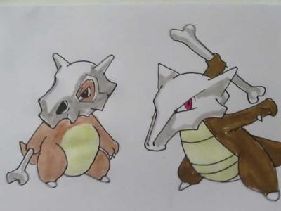 How to draw Pokemon: No.104 Cubone, No.105 Marowak