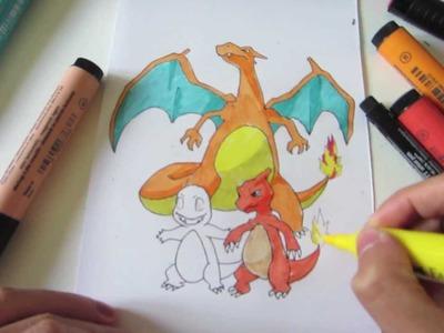 How to Draw Pokemon: No.4 Charmander, No.5 Charmeleon, No.6 Charizard