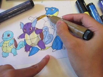 How to draw pokemon: No.7 Squirtle, No.8 Wartortle, No.9 Blastoise