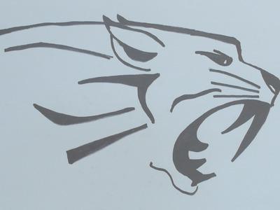 How to draw tiger head tribal tattoo