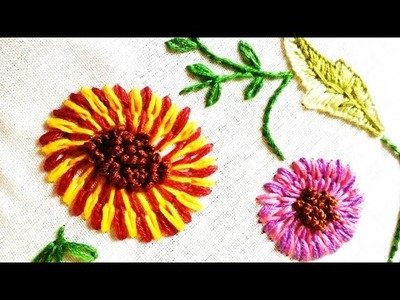 Quilling Made Easy : Hand Embroidery: Beautiful Long and Short Lazy Desy Stitch pink Flower