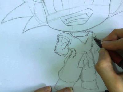 Speed drawing - Live painting: ~ Kawaii Chibi Goku ~