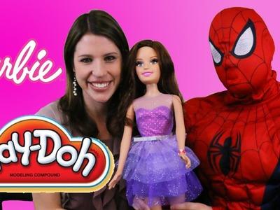 Barbie PLAY DOH Video Doll Bracelets Challenge DisneyCarToys & Spiderman Competition My Size Barbie