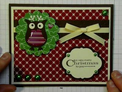 Christmas card 2012 series using Owl punch and Elegant Edges Cricut cartridge card #16