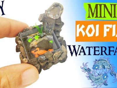 DIY MINIATURE KOI POND WATERFALL polymer clay & resin tutorial   Miniatures fish tank aquarium craft