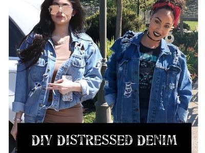 How To Distress Denim.Jean Jacket - Kylie Jenner Inspired | Jillian Felice