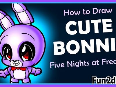How to Draw Five Nights at Freddy's CUTE Easy - Bonnie Fnaf Drawings - Fun2draw