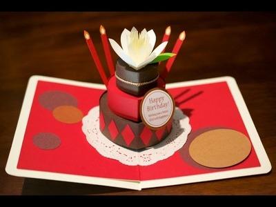 Pop-up card【お花のバースデーケーキ_Choco&Red】  flower birthday cake