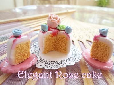 Elegant one tiered Rose Cake-Miniature food | Pastel de Rosas arcilla Polimérica