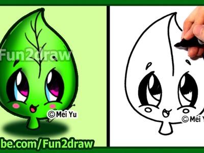 How to Draw Cute Easy - Leaf Earth Day - Fun2draw
