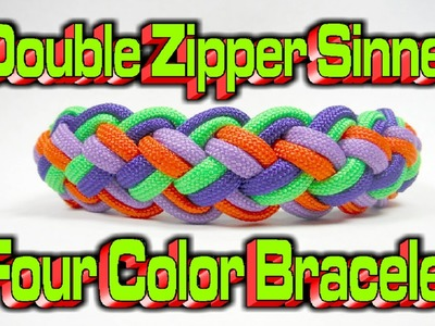How To Make A Paracord Modified Double Zipper Sinnet {4 Colors} Bracelet!!