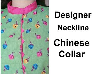 HOW TO MAKE DESIGNER NECKLINE | CHINESE COLLAR | HINDI TUTORIAL