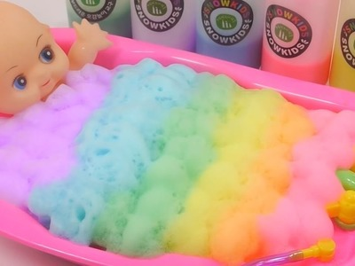 Learn Colours Baby Doll Bath Time Bubble Kinetic Sand Play Doh Toy Surprise Eggs