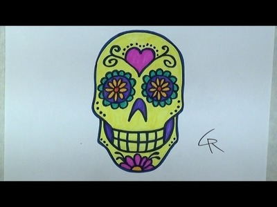 Learn How To Draw and Color A Sugar Skull -- Part 2 -- iCanHazDraw!