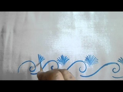 ONE_STROKE_PAINTING : Blue coloured corner design