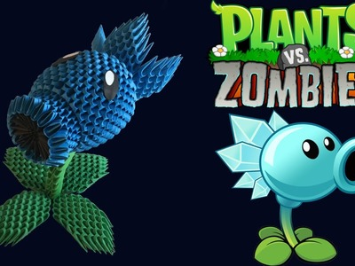 3D Origami Snow Pea Shooter tutorial from Plants vs Zombies game