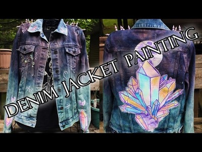 Denim Jacket Painting ~ Crystals and Moon Glyphs!