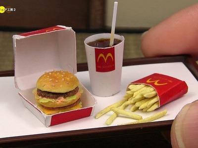 DIY McDonald's Style Miniature Big Mac Meal (Fake food) マクドナルド風ミニチュアビッグマックセット作り