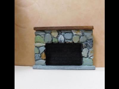 Dollhouse Miniature Stone Fireplace