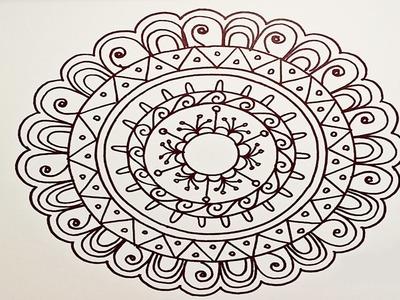 Drawing A Easy & Fun Mandala For Beginners - Part 1