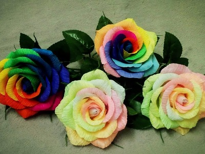 How To Make Rainbow Rose From Crepe Paper - Craft Tutorial