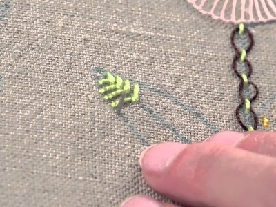 Learn How To Make an Open Fishbone Stitch   Embroidery Beginner   German