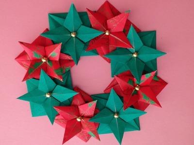 Origami Christmas wreath instructions 折り紙 クリスマスリースの簡単な折り方