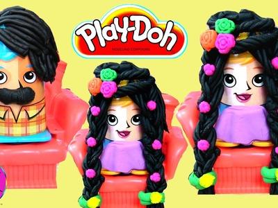 Play-Doh Crazy Cuts (Part 2) Designing Play-Doh Black Hair Style Princess 'n' Prince