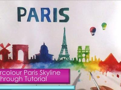 Watercolour PARIS SKYLINE SILHOUETTE Walkthrough Tutorial