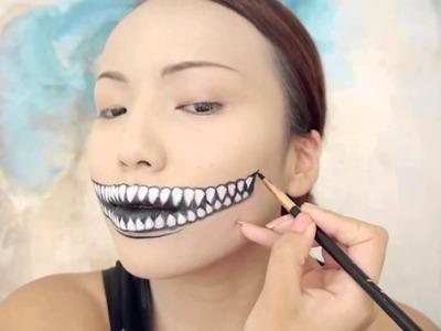 Freaky Cheshire Cat Makeup Tutorial  Halloween 2014 | makeup halloween