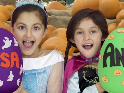FROZEN Elsa and Anna Halloween Play Doh Eggs! Costume Shopping  Funny Trick or Treat with Maleficent