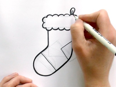 How to Draw a Cartoon Christmas Stocking
