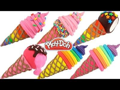 How to Make Play-Doh Waffle Cone Ice Creams * Creative Fun * Play Dough Art * RainbowLearning