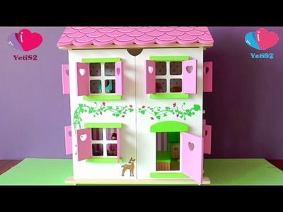 Wooden Doll House Unboxing And Building DIY Toys For Baby Girls