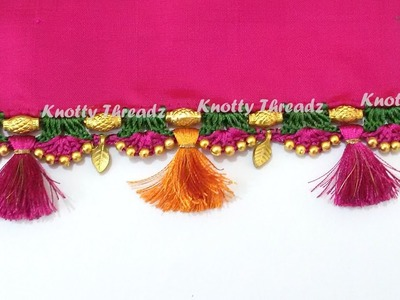 How to do Crochet. Krosha Saree Tassels using Silk Thread, Beads and Kuchu at Home | Tutorial !