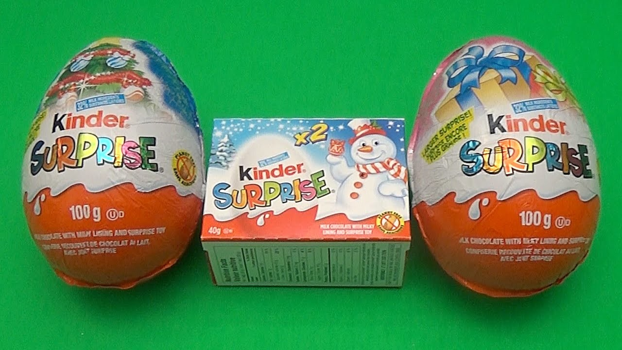 Kinder Surprise Egg Christmas Party!  Opening 2 New Huge Giant Jumbo Kinder Surprise Eggs!