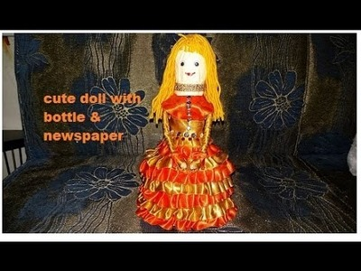 Making of a cute doll with bottle & newspaper(14)