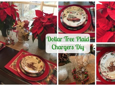 PLAID WEEK DAY 2 | DOLLAR TREE PLAID CHARGERS DIY & Plaid Tablescape