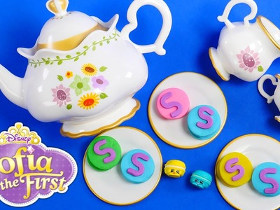 Talking Disney Princess Sofia the First Deluxe Tea Party with Shopkins and Play Doh Macarons