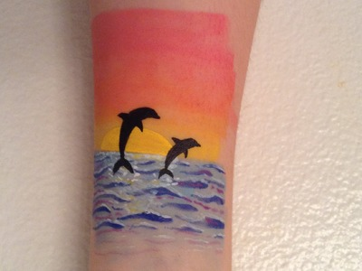 Dolphin and Sunset Body Art Tutorial