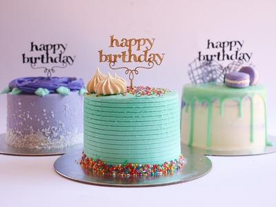 Mini Purple and Turquoise Buttercream Cakes- Rosie's Dessert Spot