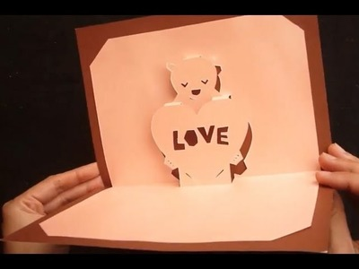 Teddy Bear Valentine's Love Pop Up Card Tutorial