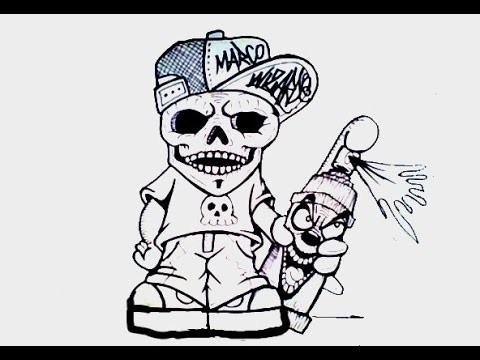 429Нарисованный череп по граффити