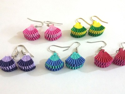 5. How to make Paper Weaving Fan Shape Earrings