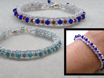 Beading4perfectionists : Stitch nr. 1 : Single row Right Angle Weave (RAW) bracelet