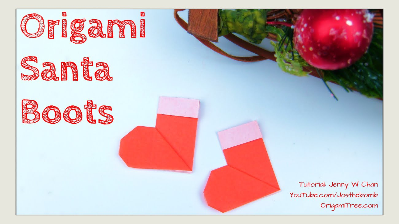 Christmas Crafts DIY- Origami Stockings, Christmas Santa Boots-Paper Crafts Kids