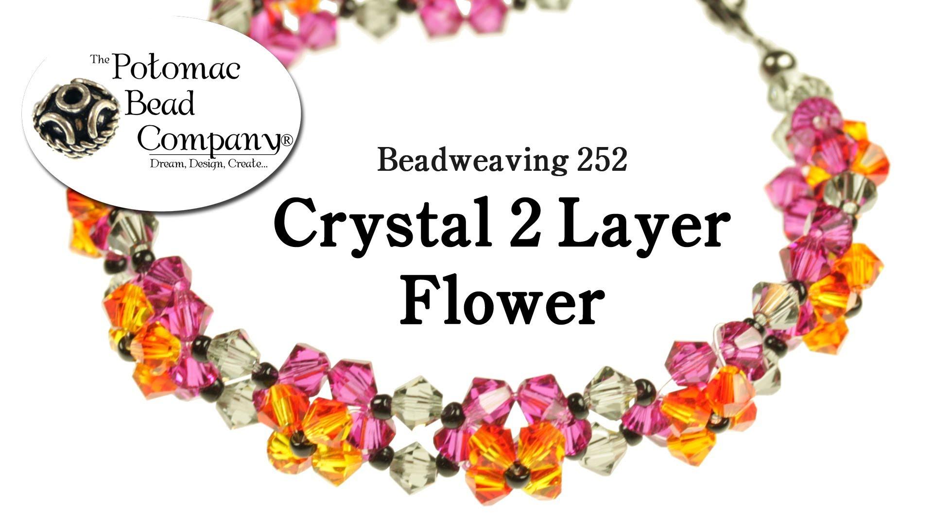 Crystal 2 Layer Flower Bracelet (Reversible) - Beadweaving 252