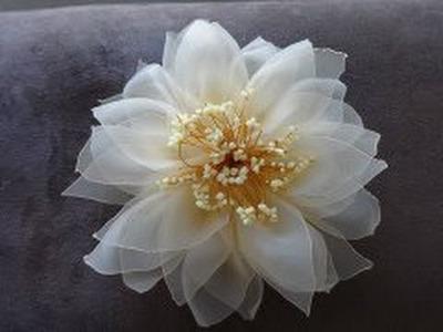 Цветок из органзы (Мастер класс).Organza Flower.
