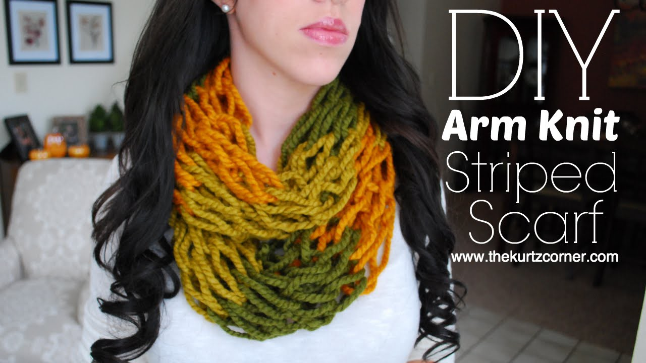 DIY Arm Knitting - 30 Minute Striped Infinity Scarf