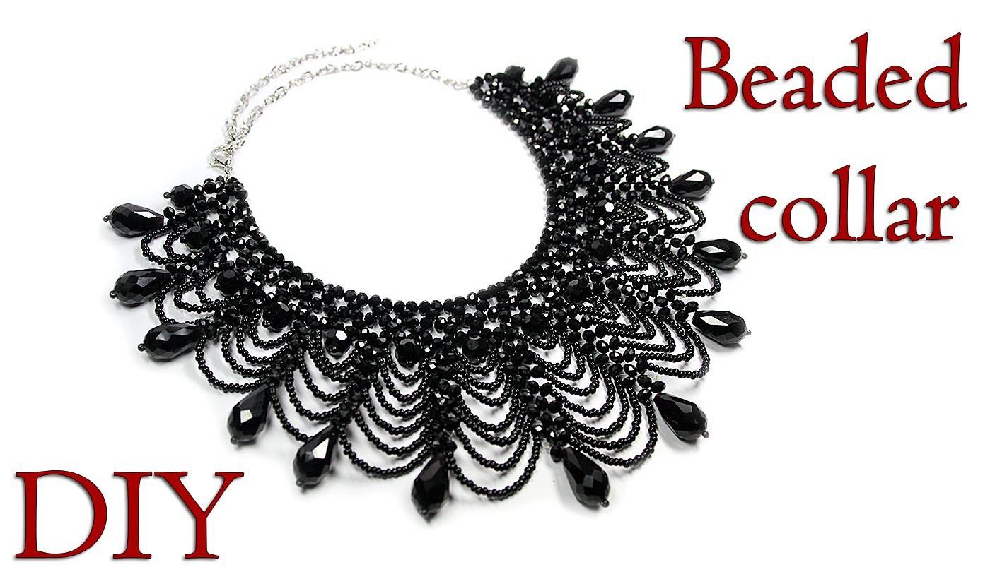DIY: Beaded collar necklace. Ажурный воротник из бисера